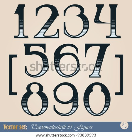 Set of vector digits of the alphabet in the style of the old signs - stock vector