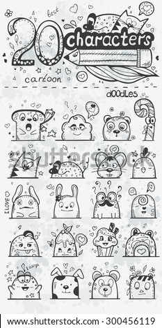 Set of vector doodle hand-drawn cartoon characters