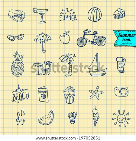 Set of  vector doodle summer icons, , vector illustration hand drawn - stock vector