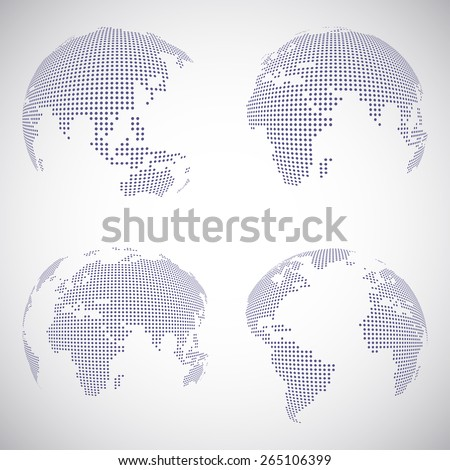 Set of vector dotted globes in different views - stock vector