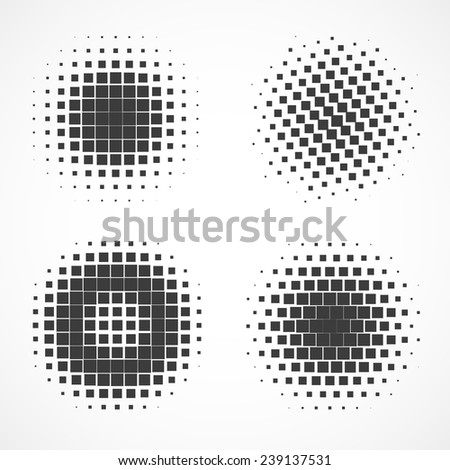 Set of vector dotted spheres isolated on white - stock vector