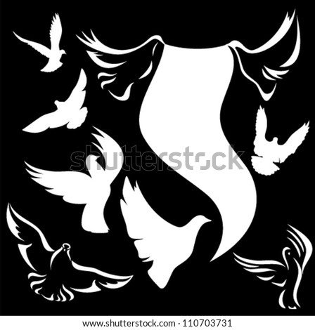 set of vector doves - white outlines and silhouettes against black - stock vector