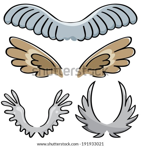 set of vector drawn of different wings - stock vector