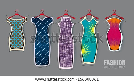Set of vector dresses. Decorative style - stock vector