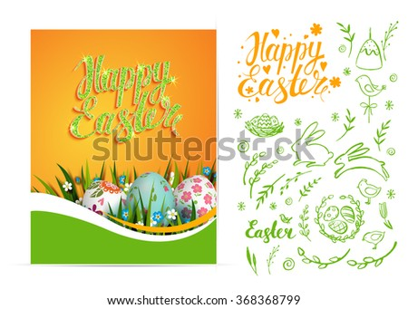 Set of vector Easter card and hand drawn Easter elements. Happy Easter. Realistic Easter eggs. Floral background. Hand drawn inscription with glitter. Typography. Lettering. - stock vector