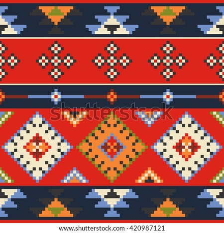 Set of vector Eastern Europe folk seamless pattern ornaments. Ethnic ornaments.