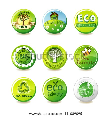 Set of vector eco-green badges - stock vector