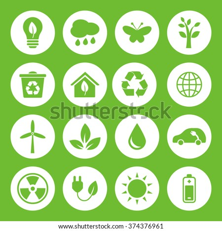 Set of vector Eco Icons in flat style, green on white basis. Ecology, Nature, Energy, Environment and Recycle Icons.