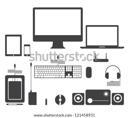 Set of vector electronic device icons for websites (UI) or smartphones and tablets applications (app). Computer, monitor, notebook, keyboard, mouse, speakers, laptop, headphones, network - stock vector
