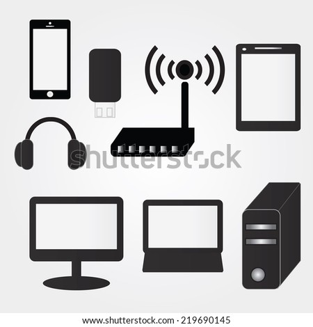 Set of vector electronics  device icons for websites  , smartphones ,tablets  ,  Computer ,   laptop, handy drive,headphone,accessories,computer accessories vector