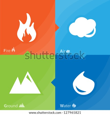 Set of 4 vector elements   -   fire, water, air, ground - stock vector
