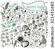 Set of vector elements for healthy food, raw food, vegetarian. Vegetables, fruits, berries, nuts, vegetable oils, cereals, grains, juices, herbs. Hand drawn. Black and white. - stock vector