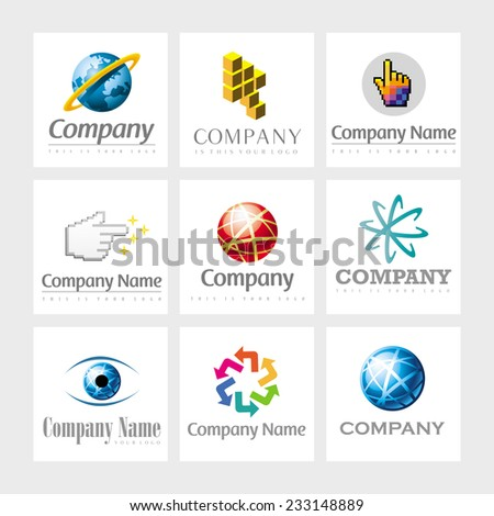 Set of 9 vector elements for logo design - stock vector