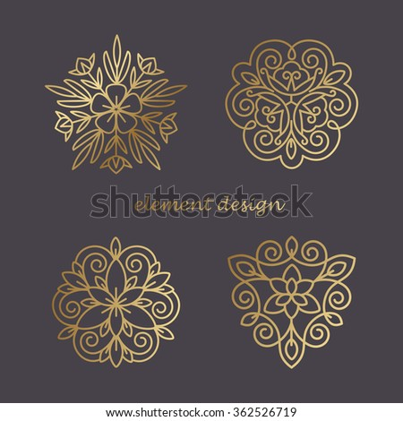 Set of vector elements in the style of a mono line. Template for creating a unique luxury design, logos, artwork, design exhibitions, auctions, corporate products, business cards. Natural motifs. - stock vector
