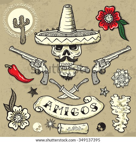 Set of vector elements. Mexican theme. Tattoo-art design. New traditional tattoo style. Hand-drawn vector images.Good for printing on t-shirt. Easy to edit. EPS8 file. Vintage colors. Tattoo font.