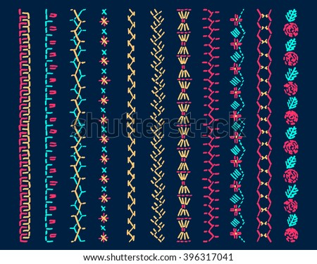 Set of vector elements of folk embroidery, stitch, stitching, border