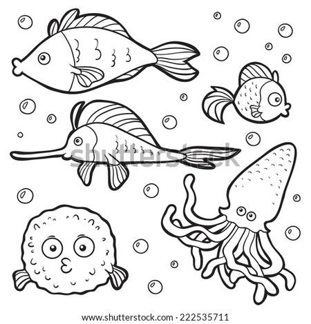Set of vector elements (sea life) - stock vector