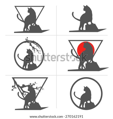 Set of vector emblems with cats