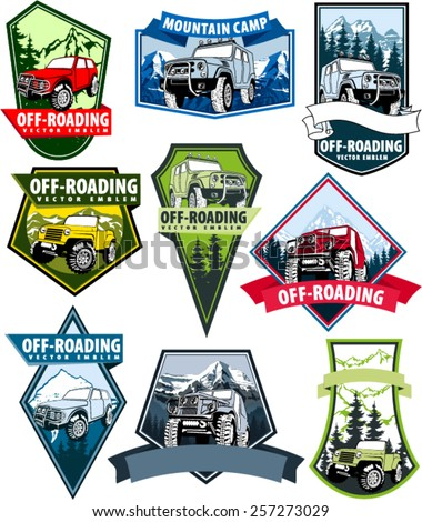 set of Vector emblems with 4x4 vehicle off-road car and mountains - stock vector