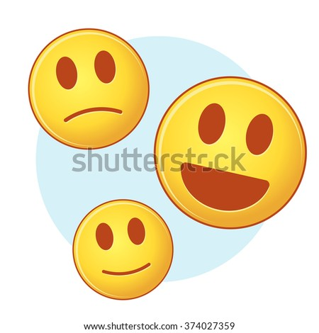 Set of vector emoji on blue and white background - stock vector