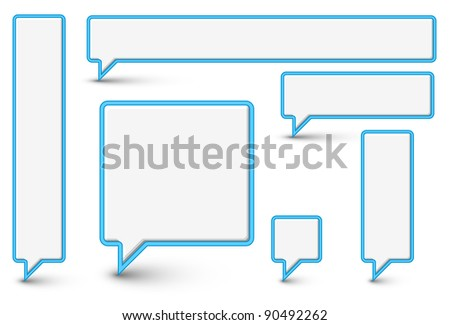 Set of vector empty plastic Comic Clouds and bubbles with blue border - stock vector