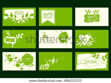 Set vector environmental business cards natural stock vector 2018 set of vector environmental business cards natural products healthy food 100 natural colourmoves