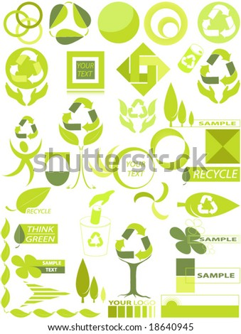 Set of vector environmental design elements. individually grouped for easy editing.