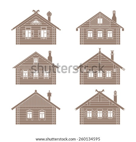 Set of vector facades of old russian log houses.Ancient wooden huts architectural symbols and design elements. Detailed collection for product promotion and advertising isolated on white background - stock vector