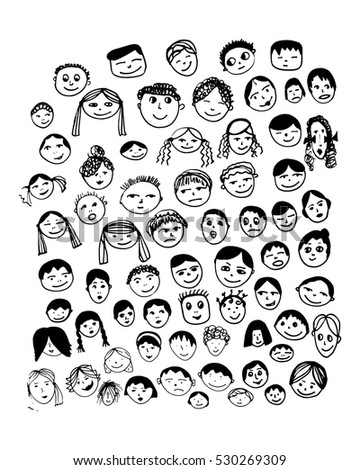 Set of vector faces hand made doodle illustration