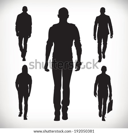 Set of vector fashion people silhouettes 0115