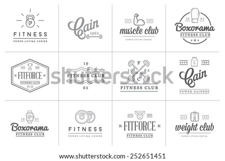 Set of Vector Fitness Aerobics Gym Elements and Fitness Icons Illustration can be used as Logo or Icon in premium quality - stock vector