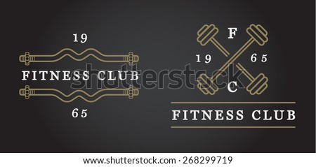 Set of Vector Fitness Aerobics Gym Elements and Fitness Icons Illustration can be used as Logo or Icon in premium quality Flat Icons Style  - stock vector