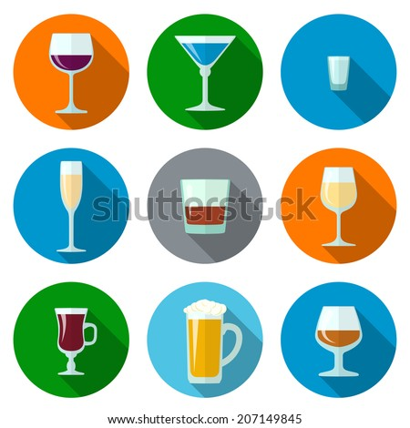 set of vector flat design alcohol glasses icons - stock vector