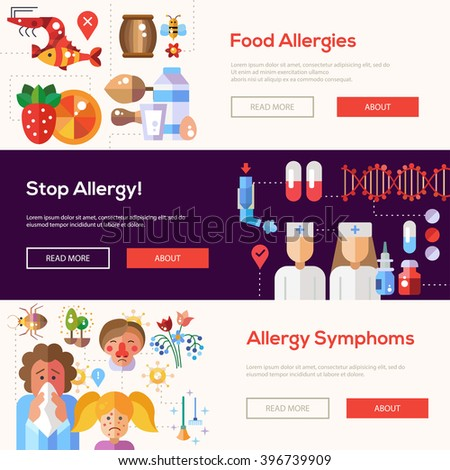 Set of vector flat design allergy and allergen banners, headers with icons and infographics elements - stock vector