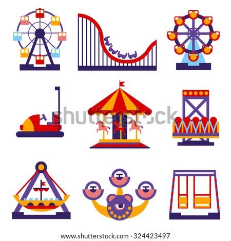set vector flat design amusement park stock vector 324423497 shutterstock. Black Bedroom Furniture Sets. Home Design Ideas