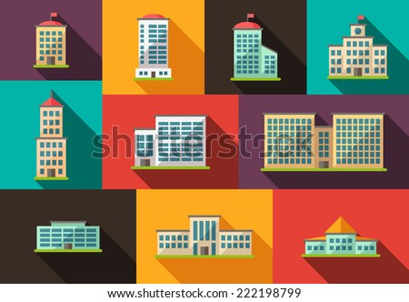 Set of vector flat design buildings pictograms - stock vector