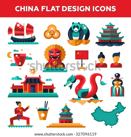 Set of vector flat design China travel icons and infographics elements with landmarks and famous Chinese symbols