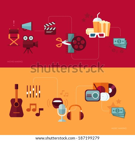 Set of vector flat design concept illustrations with icons of movie and music making - stock vector
