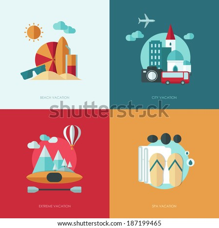 Set of vector flat design concept illustrations with icons of travel and vacation - stock vector
