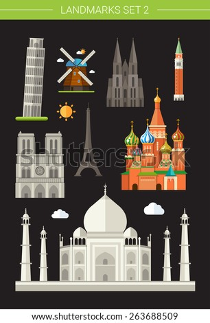 Set of vector flat design famous world landmarks icons - stock vector