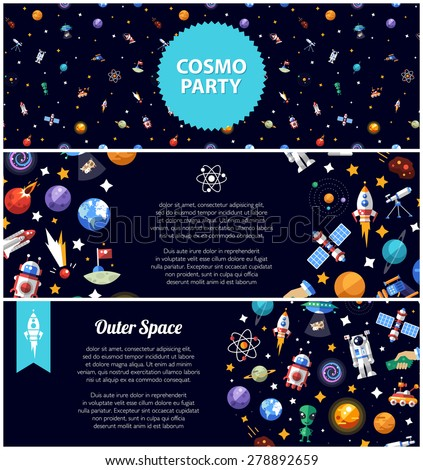 Set of vector flat design flyer sof space icons and infographics elements - stock vector