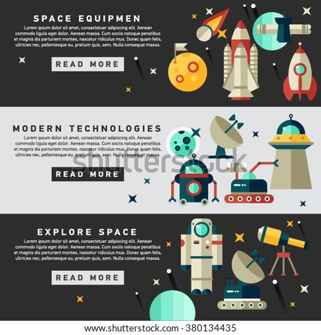 Set of vector flat design flyers and headers of space icons and infographics elements. Space equipment vector illustration. Web banner - stock vector