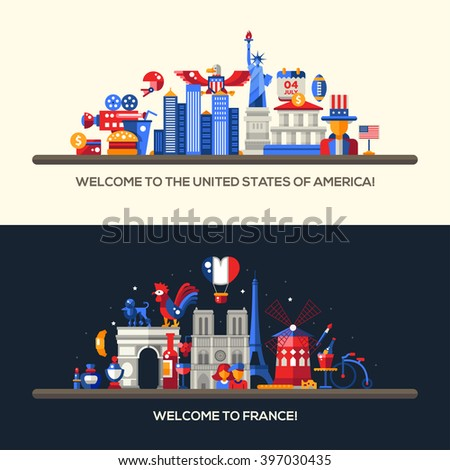 Set of vector flat design France, USA travel banners, headers with icons and infographics elements with landmarks and famous French and American symbols  - stock vector
