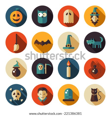 Set of vector flat design Halloween icons - stock vector