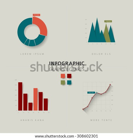 Set of vector flat design infographics statistics charts and graphs - retro color version - stock vector