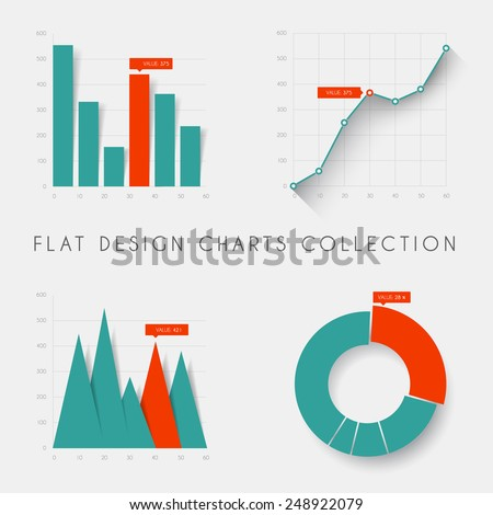 Set of vector flat design infographics statistics charts and graphs - teal and red version - stock vector