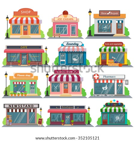 Set Vector Flat Design Restaurants Shops Stock Vector