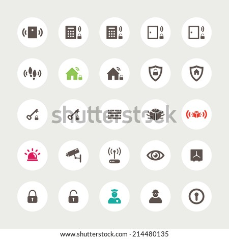 Set of vector flat design secure  icons - stock vector