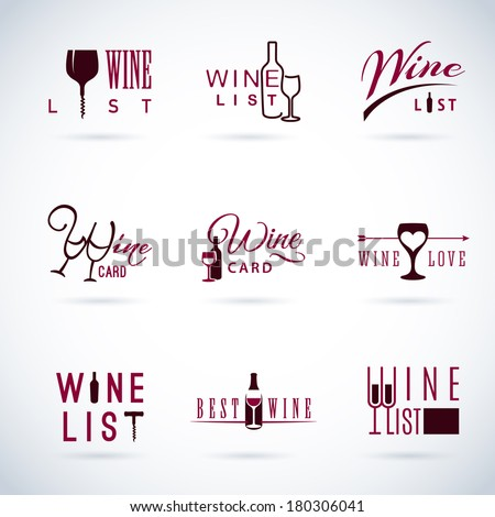 Set of vector flat design wine icons for food and drink