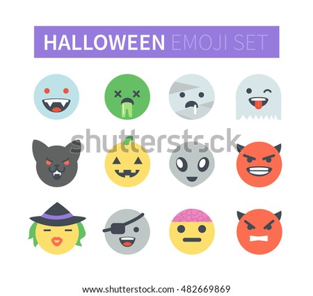 Set of vector flat  halloween emoticons. Emoji icons isolated on white background. Different emotions collection.